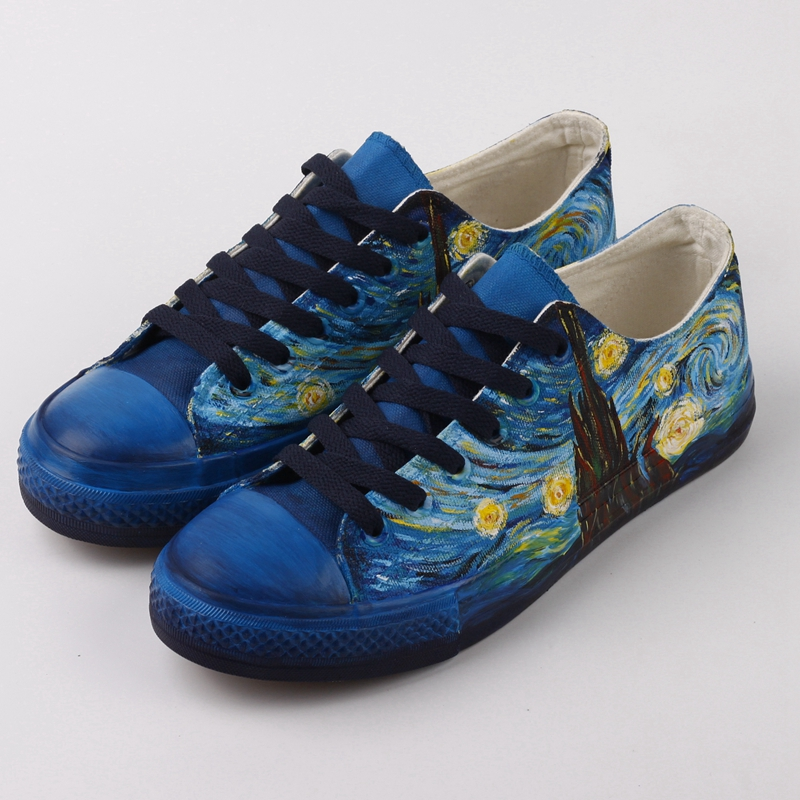 E LOV Top Brand Hand Painted Women Flat Casual Canvas Shoes Customize Design Oil Painting Couples
