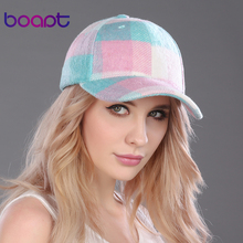 BOAPT plaid wool velvet pink baseball cap autumn travels women's hats casual 2017 caps stripe female hat for men's hat snapback