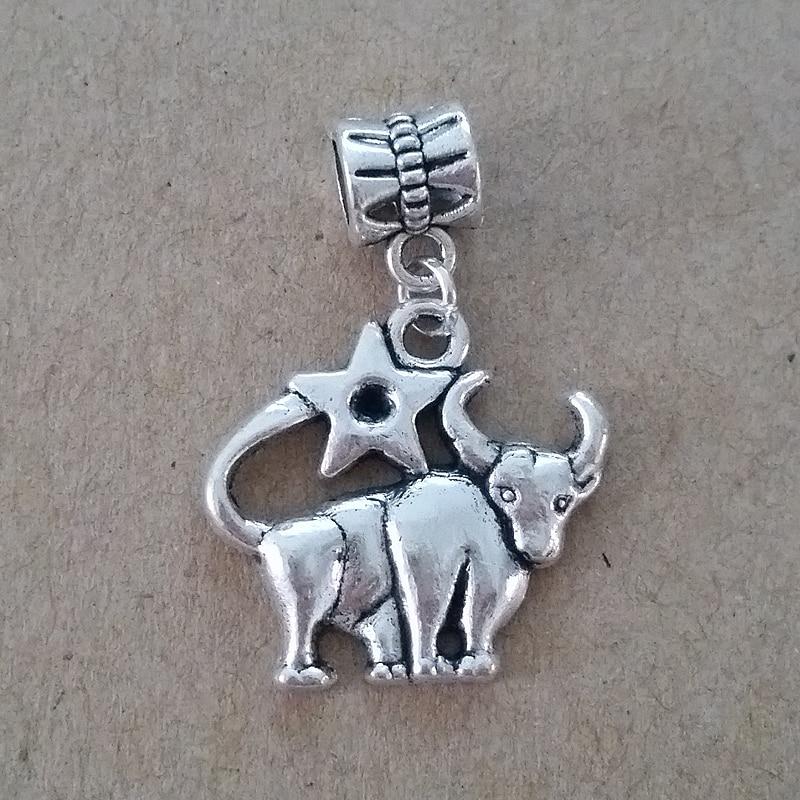 Envío libre 1 unid plateó Taurus Europea bead encanto DIY joyería ...