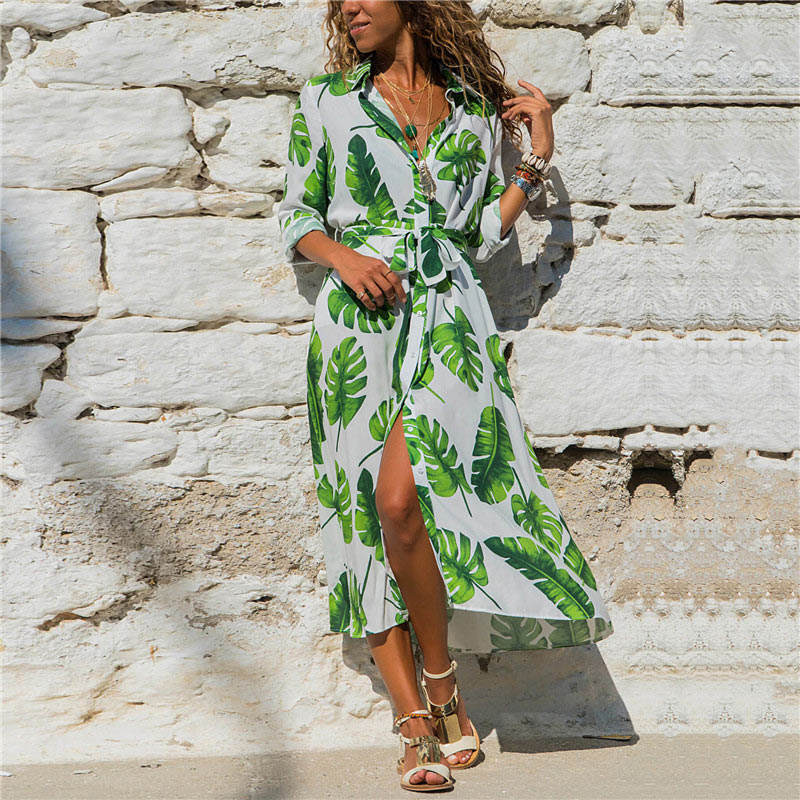 Summer Long Dress Women Floral Print Boho Chiffon Dress Long Sleeve Turn Down Collar Shirt Dress Ladies Casual Dresses Vestidos 5