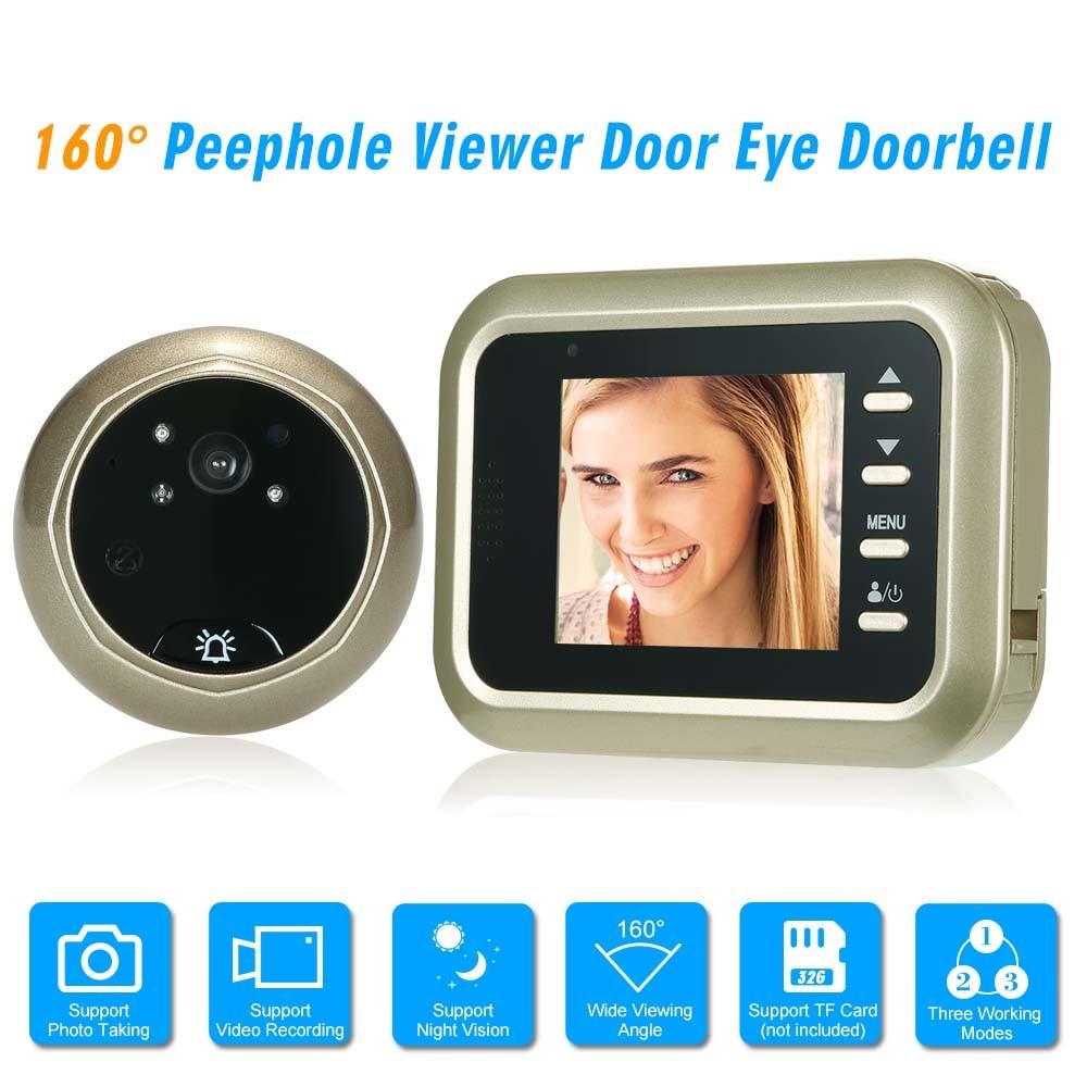 2 4 Digital Peephole Viewer 160 Degree Door Eye Doorbell HD IR Camera Night Vision Optional