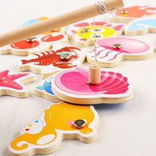 Free shipping Classic Wooden animal fish simulation magnetic Marine fishing toy Children's toy set Kids Souptoys puzzle toy gift