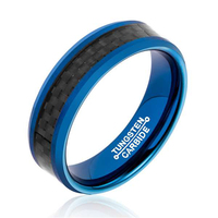 Fashion 6MM Width Tungsten Carbide Rings for Man IP Blue Plating Inlay Black Carbon Fiber Size 7 13