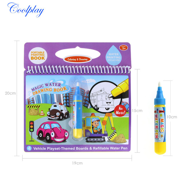COOLPLAY Magic Water Drawing Book Coloring Book Doodle Magic Pen Painting Drawing Board For Kids Toys