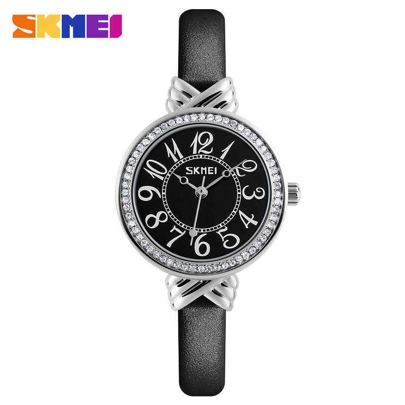 2017 SKMEI Luxury Brand Women Quartz Watch Casual Fashion Female Crystal Leather Watch Relogio Feminino Girl Clock Relojes Mujer fashion sunglasses women diamond luxury brand design sun glasses female mirrored lens oculos de sol feminino