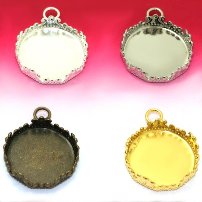 10X внутренняя 15 мм форма кроны один круг кулон Камея Кабошон Установка лотка покрытие,/золото/античная бронза /Родий Серебро
