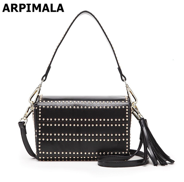 11ff9a2e58a5 ARPIMALA 2017 Famous Brand Clutch Bag Designer Studded Bag Rivet Luxury  Punk Women Messenger Bags Black Fringe Ladies Hand Bags