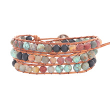 Top Quality Natural Stone 3 Layer Leather Bracelet Wrap Africa Beaded Bracelets Wholesale Fashion