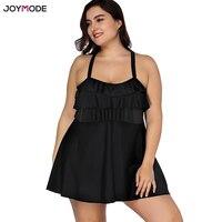 JOYMODE Black Bikini 2018 One Piece Swimsuit Women Swim Dress Fat Plus Size 3XL 4XL Biquini