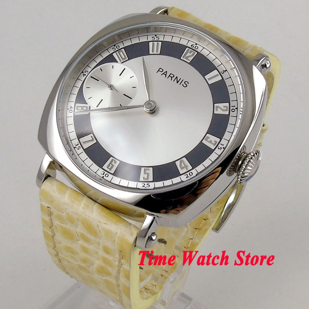 luxury Parnis 44mm polished men's watch silver dial 17 jewels 6497 mechanical hand winding movement wrist watch 1072