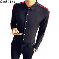 Men Shirt Brand 2017 Male Fashion Large Size Long Sleeve Shirts Casual Hit Color Slim Fit