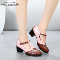 Genuine Leather summer oxford sandals big woman shoes US 9.5 round toe handmade pink black brown 2018 oxfords shoes for women