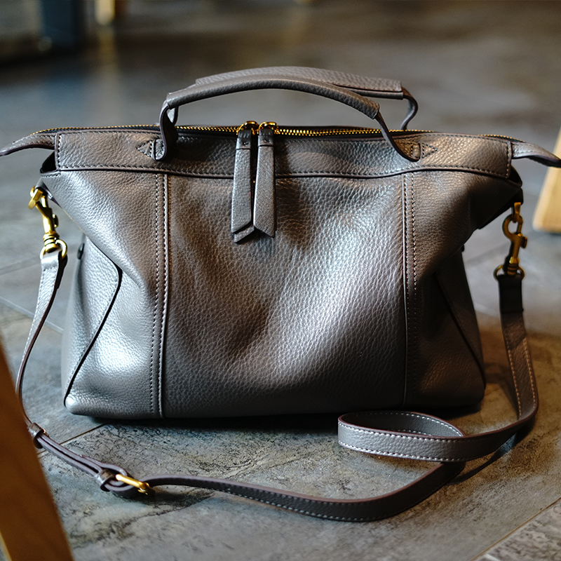 Echtem Schulter grey Frauen Große Wb876 Stich Tasche Verfeinert Verbergen Woonam Boston Kalb Top Handtasche Black Italien Leder Griff wpqvIB