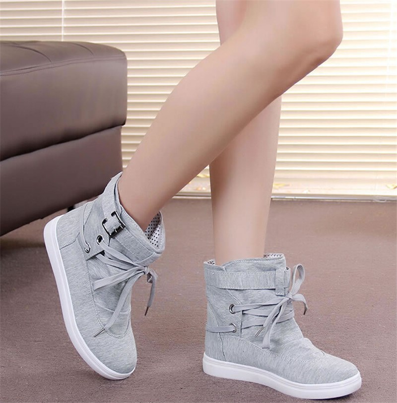 2017 Women Buckle Strap Flats Shoes Ladies Female Casual Lace Up High Top Canvas Breathable Walking Shoes XM065 цены онлайн