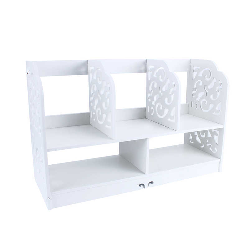 1Pcs White Wooden Bathroom Bedroom Hollow Carved Large Bookcase Book  Storage Shelf(Hong Kong)