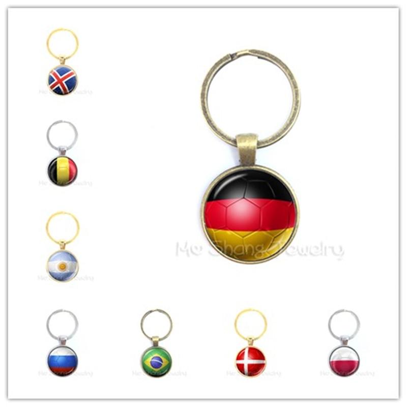 2018 World Cup Keychain Gemstone Flag Charm Keyring Soccer Lover Gift for Him ^^