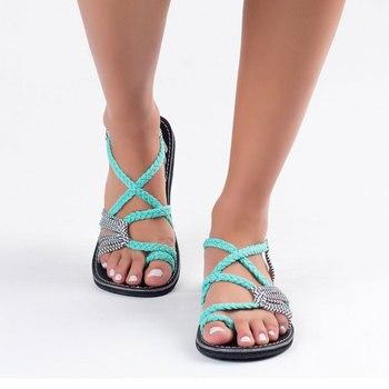 Santo Descompostura recluta  Mujeres sandalias tipo gladiador de moda Sandalias Mujer zapatos de verano  Sandalias planas femeninas estilo Roma sandalias atadas cruzadas zapatos  35-43 - jamiiprime.store