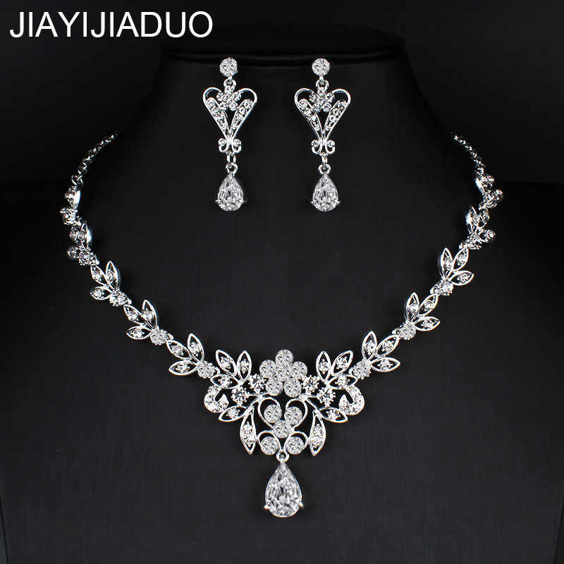 jiayijiaduo Elegant Leaf Wedding Jewelry Sets for Bride Clear Crystal Necklace Earrings Sets 2018 new Hot Bridesmaid Jewelry