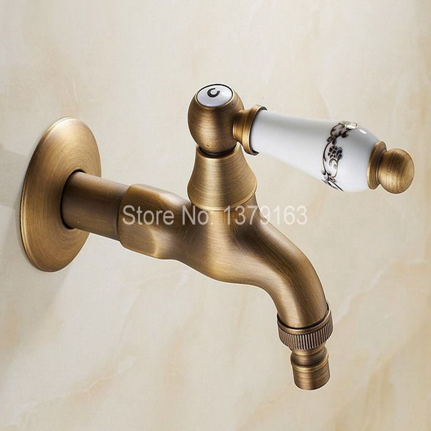 Antique Brass Single Ceramic Flower Pattern Handle washer faucet wall mounted Laundry bathroom Mop Water Tap aav131