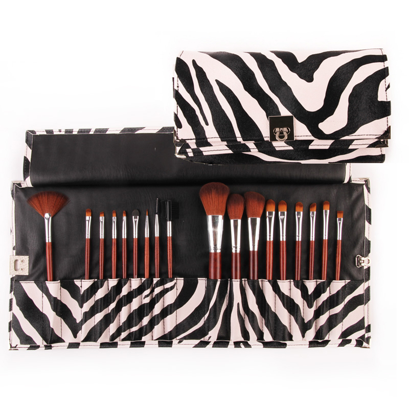 Makeup Brushes Kit 18 Pieces in a Set Gorgeous Zebra Leather Bag Ultra-Fine Synthetic Hair Hot in Makeup Tools & Accessories