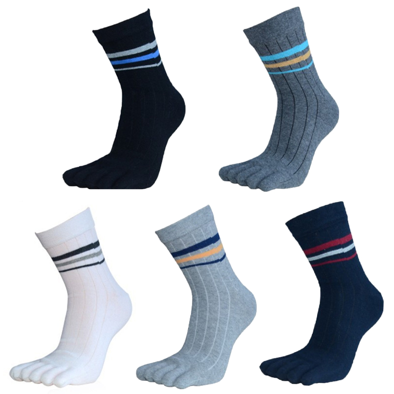 5Pair New Fashion Cotton Toe Socks Men Casual Brand Five Finger Socks Male Colorful In Tube Solid Business Dress Socks