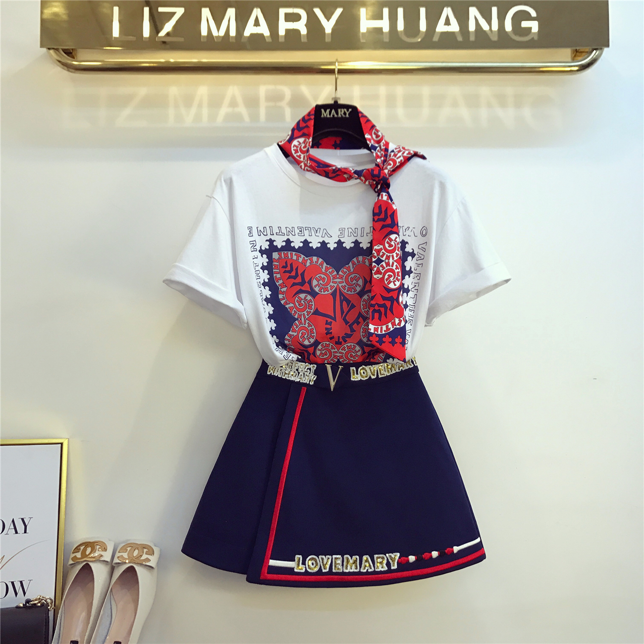 2019 Spring Summer Women 2 Peice Set Fashion Short Sleeve T-shirt + Sequins Letter Mini Skirt Ladies Sexy Skirts Suit Femme Sets Price $39.98
