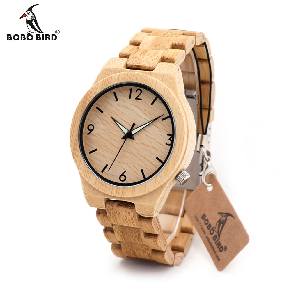BOBO BIRD L-D27 Luminous Needles Natural All Bamboo Wood Watches Top Brand Luxury Men Watch with Japanese Movement For Gift bobo bird l26 square zebra wood bamboo quartz watch men s top casual brand watch relogio masculino with leather strap for gift