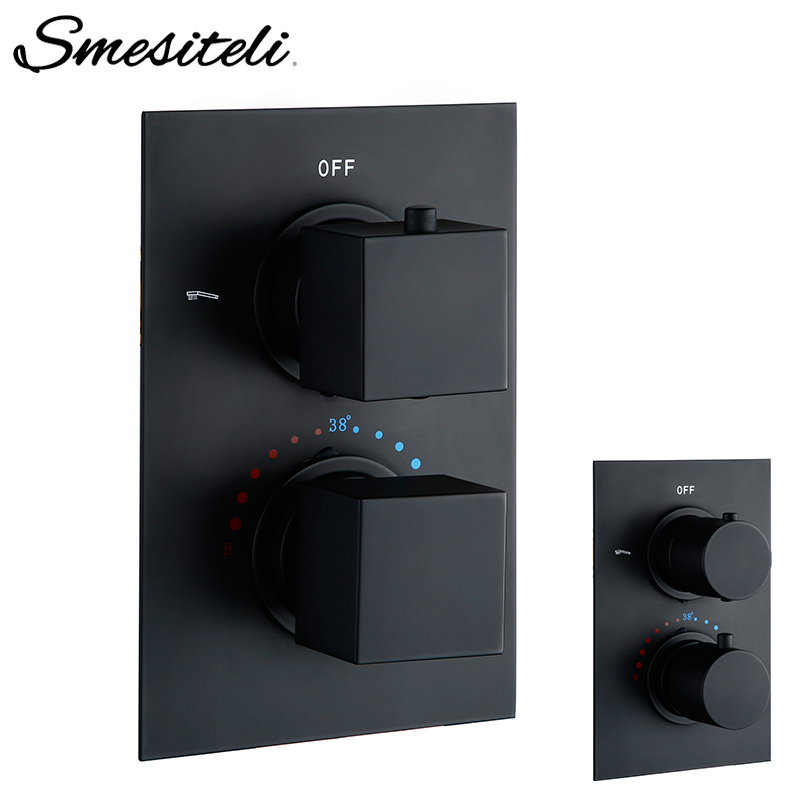 Smesiteli Bathroom Black Round Square Solid Brass Concealed Thermostatic Shower Valve Mixer Water Tap Bathroom Water