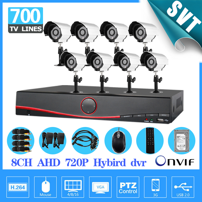 CCTV surveillance system 700TVL IR waterproof outdoor Camera 8channel AHD 720P 960H DVR NVR Recorder security Kit 1TB HDD SK-231 4ch cctv system 960h hdmi dvr nvr 4pcs 900tvl ir waterproof outdoor cctv camera home security system surveillance kit 4 channel