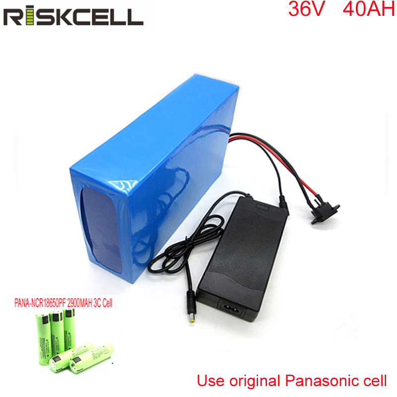 Free customs taxes electric bike 36v 40ah lithium ion battery pack for 36V 8fun/bafang 750W/1000W moto For Panasonic cell free shipping 12v 40ah lithium battery ion pack rechargeable for laptop power bank 12v ups cell electric bike 3a charger