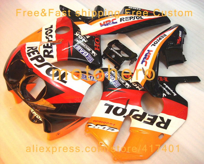 Injection molding <font><b>fairing</b></font> for Honda <font><b>CBR250RR</b></font> MC22 <font><b>fairings</b></font> <font><b>kit</b></font> 1990-1994 Repsol CBR250 VN27 image