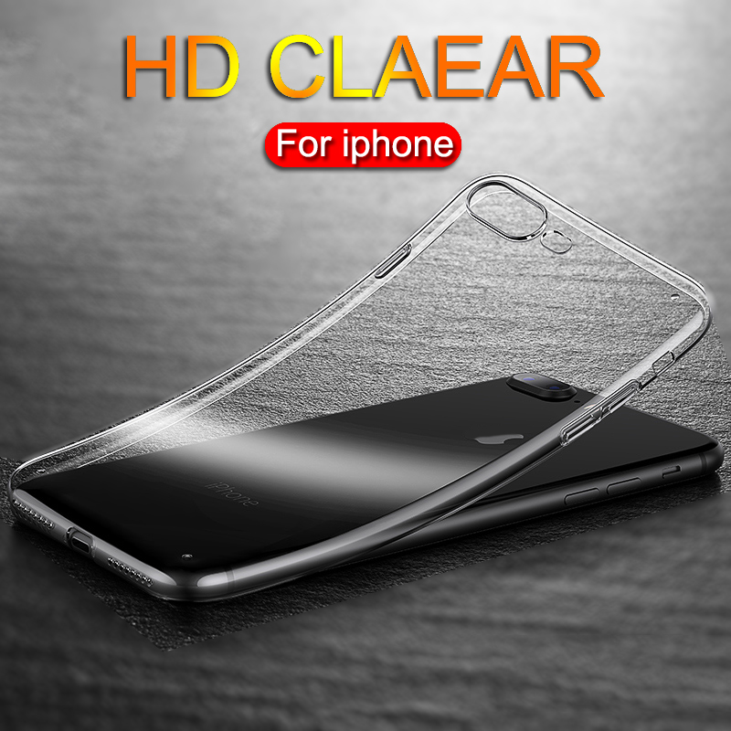 Ultra thin Clear Transparent TPU Silicone Case For iPhone XS MAX XR 6 7 6S 5 Plus Protect Rubber Phone Case For iPhone 8 7 Plus(China)