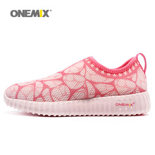 ONEMIX New Woman Running Shoes For Women Mesh Athletic Trainers Pink Zapatillas Sports Shoe Outdoor Walking Sneakers Free Ship