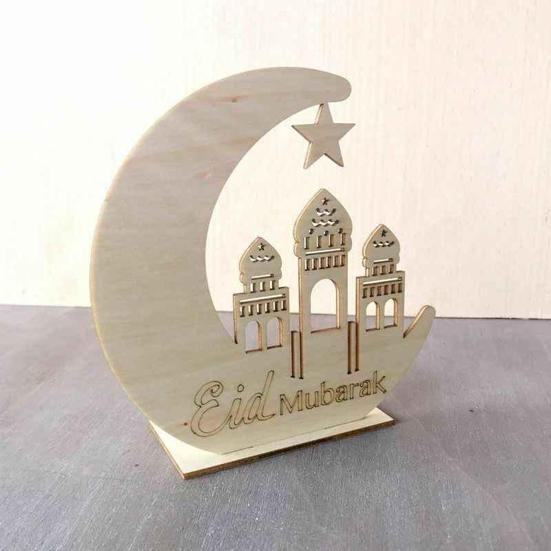 1 Máy Tính Bằng Gỗ EID Mubarak DIY Lâu Đài Mặt Trăng Trang Trí Nhà Ramadan EID Mubarak Gỗ Mảng Bám Treo Mặt Dây Chuyền Trang Trí Cho Ramadan các Hoạt Động