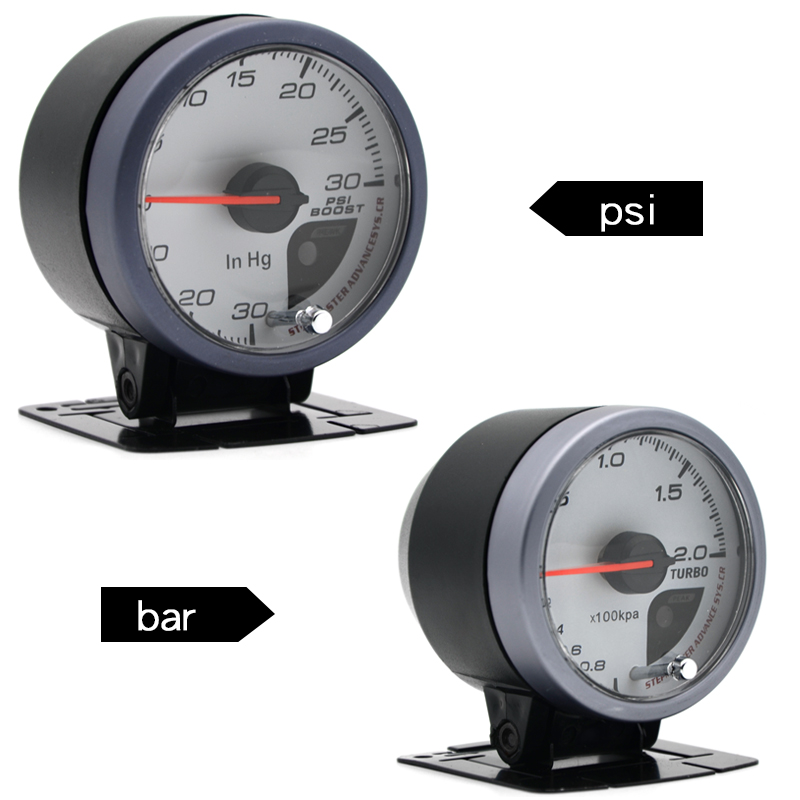 Dragon Gauge 60MM 2.0 BAR / 30 30 PSI Boost Turbo Gauge White Face Dual Led Color Display