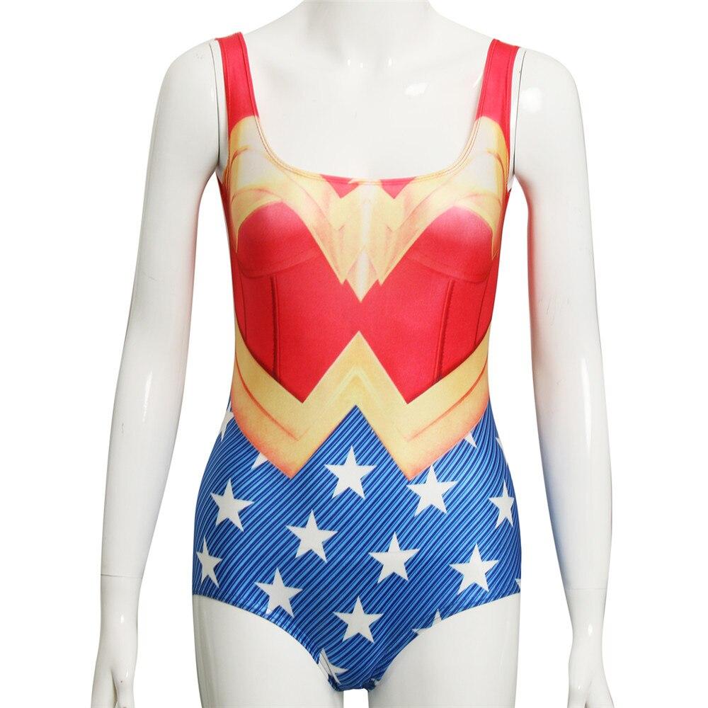 Takerlama Super Hero Wonder Women Swimsuit Red Vest Blue Girl 3D Print Swimwear Red Sleeveless Fitness High Elastic Bodysuit
