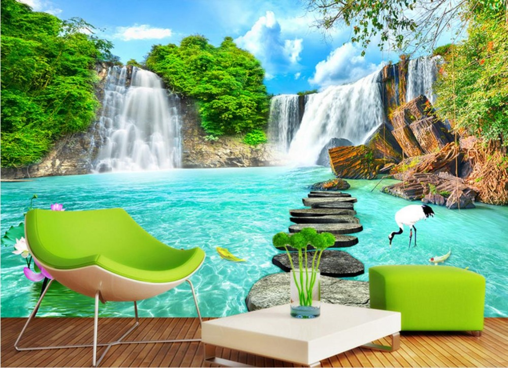 3d waterfall wall murals background living mural bedroom parede papel scenery landscape study flower paper decor walls custom waterlily stereoscopic