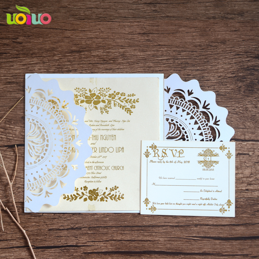 Wholesale paper invitation card 10Sets Laser Cut Wedding invitations ...