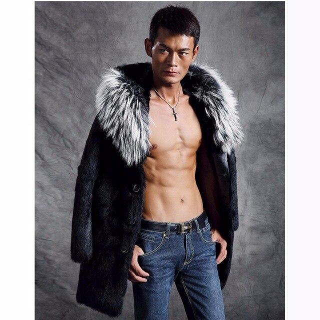 S 4XL 2017 New Men Faux Mink Fur Coat Medium Long Casual Fur ...