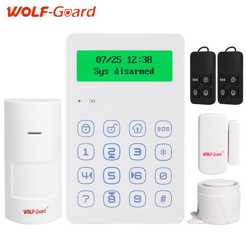 Loup Garde voix Invite 433 mhz sans fil clavier GSM système D'alarme android IOS APP contrôle avec anti-sabotage fonction sirène filaire