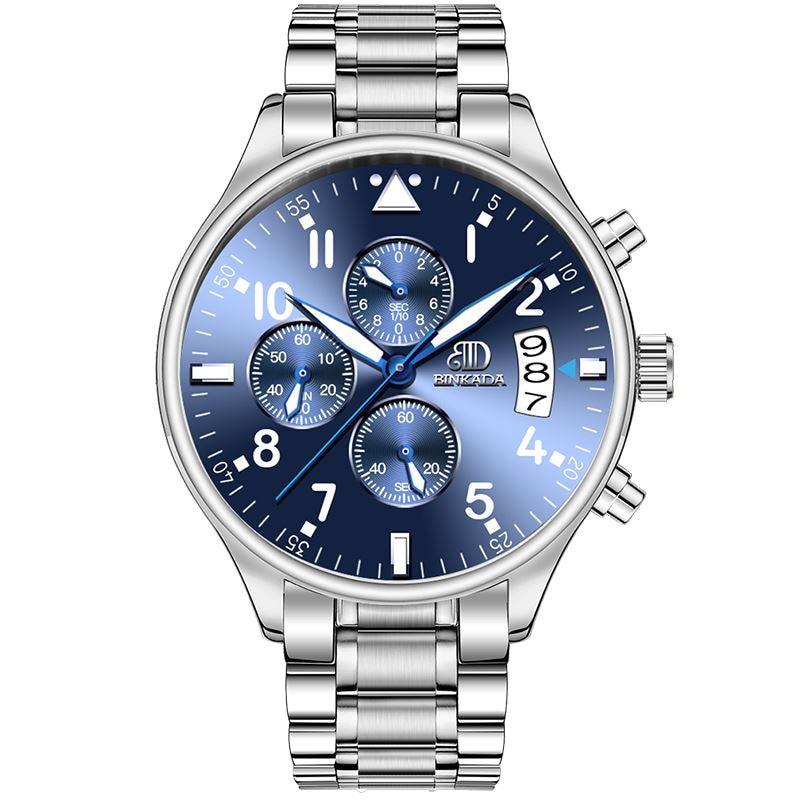 Men's quartz watch multi-function waterproof Fine steel leisure - Men's Watches