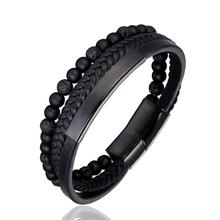 цена на 2019 New 6MM Natural Stone Men Bracelet Multi-layer Handmade Weaved Leather Rope Chain Stainless Steel Bangle Male Jewelry Gifts