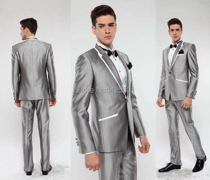 2016 Italian Groom Tuxedo Silver Suit peaked Lapel Best man ...