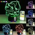 Nova Série Bolso Bulbasaur 7 Cores 3D LED Night Light Table Lamp Presente de Natal