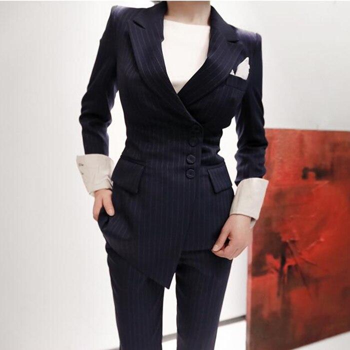 2018 flambant neuf Entaillé Col Revers à manches longues Rayé Mince Costumes pantalons Femmes Sexy Blazer + pantalon 2 Pièces Ensemble Automne Nouveau