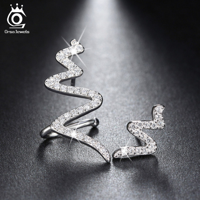 ORSA JEWELS 2017 New Arrival Unique Luxury CZ Diamond Crystal Twisted Stud Earrings 925 Silver Jewelry for Women SE05