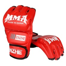 11a747db9 Luvas de boxe luvas de mma muay thai luvas de treinamento mma boxer luta  equipamentos de boxe metade mitts pu couro preto vermel.