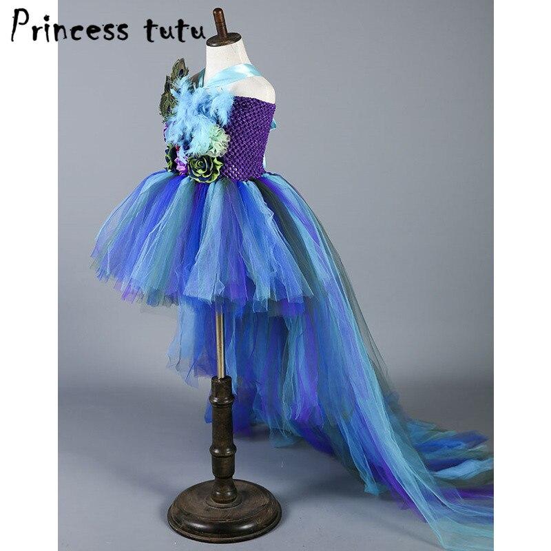 Boutique plume fleur fille robe de soirée robes de mode Train paon filles robes d'anniversaire enfants vêtements de noël W049