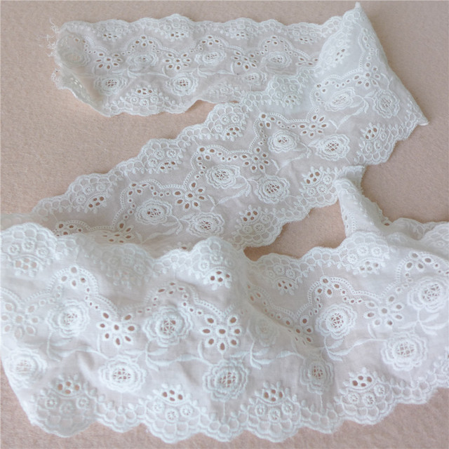 Eyelet Lace Fabric Trim In White Cotton With Fl Bridal Wedding Dress
