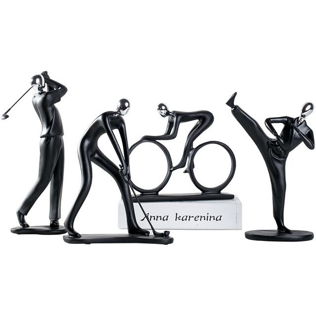 2019 resina Multi-Acción decoración Simple hombre figurillas fútbol bicicleta Golf miniaturas guitarra saxofón hogar Deoration E